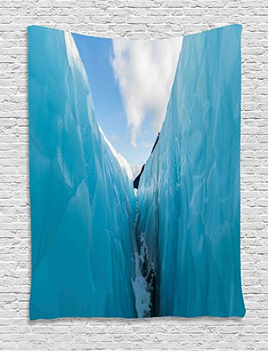 Nature Decor Tapestry by Ambesonne, Frozen Ice Mountains in North South Polar Cubes Winter Theme Art Print, Wall Hanging for Bedroom Living Room Dorm, 60WX80L Inches, White and - Polar Tap Cube