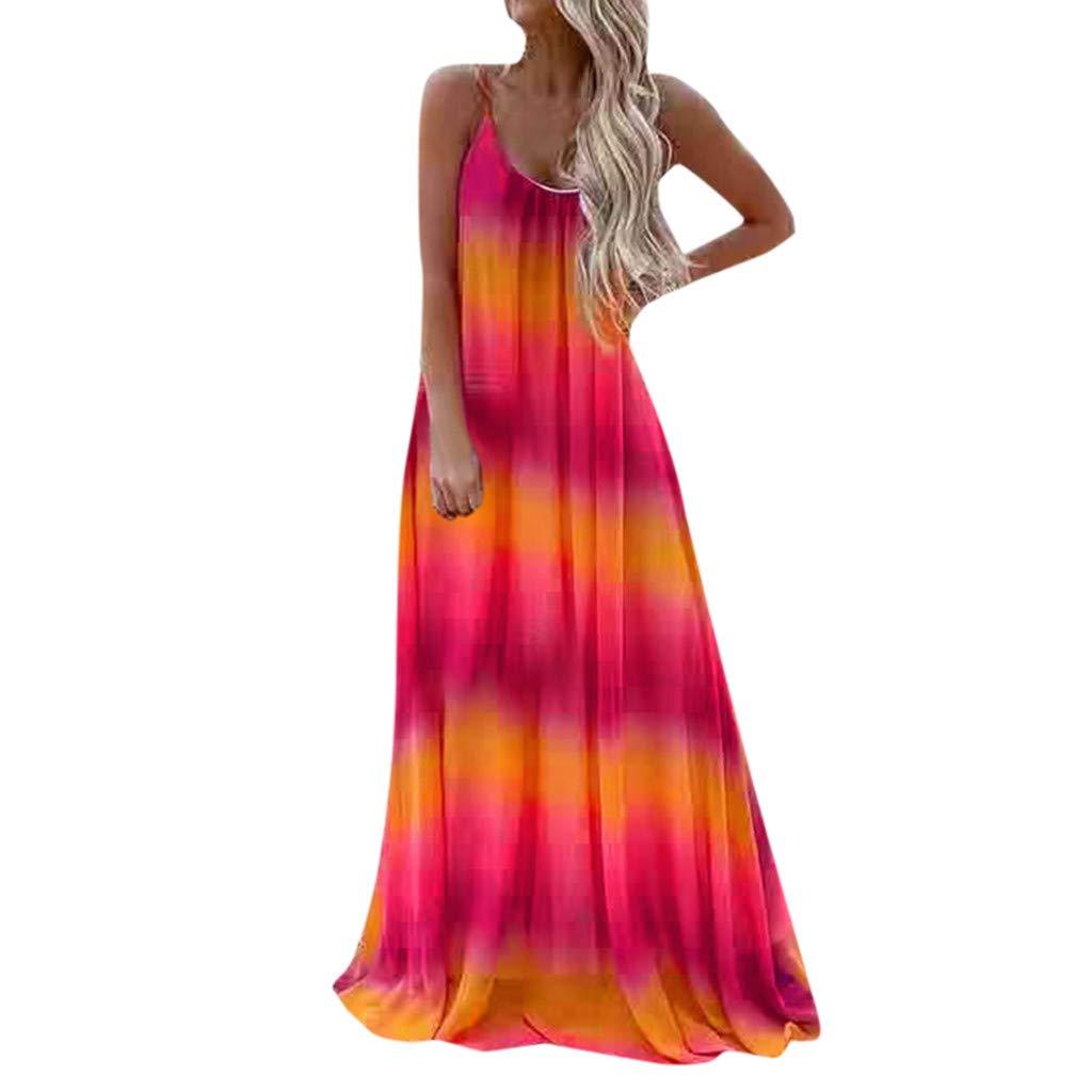 Women Summer Spaghetti Straps Dress Tie Dye Beach Long Dresses Bohemian Party Gown(Red,XL