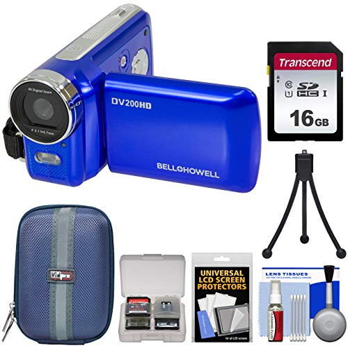 Bell & Howell DV200HD HD Video Camera Camcorder with Built-in Video Light (Blue) with 16GB Card + Case + Mini Tripod + Kit