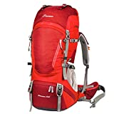 MOUNTAINTOP Outdoor Sports Professional Hiking Large Backpack Daypacks Waterproof Mountaineering Bag M5822 Unisex 60L Trekking Travel Bag Rucksack Red Review