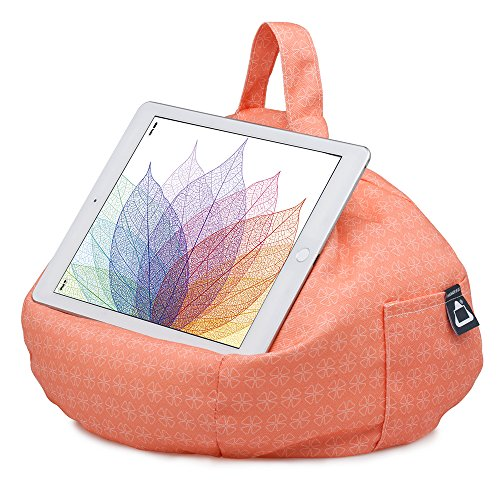 iPad Pillow & Tablet Stand - Securely Holds Any Size Tablet, eReader or Book Upto 12.9 inches, Hands Free Comfort at Any Angle on Any Surface - Coral, by iBeani