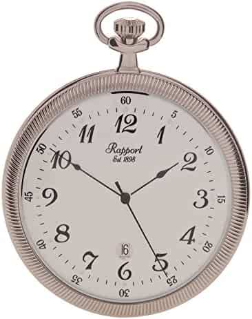 Vintage Pocket Watch with Chain by Rapport - Classic Oxford Open Face Pocket Watch with Date - Silver