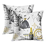 Emvency Watercolor in Retro Beautiful Couple Bottle of Champagne Glasses Greyhound Dogs Jewellery Clock Celebrate Throw Pillow Covers Cover Set of 2 16x16 Inch Two Side Pillowcase Cases Case