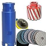 2-Inch x 1-5/8-Inch Zero Tolerance Diamond Drum Wheel/Profiler 2'' Diamond Granite/Concrete Core Drill Bits/Hole Saws 4'' DRY Polishing Pad 8+1 Pieces