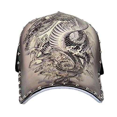 (Unisex Snapback Hats Rivet Cap,Adjustable Printed Hip Hop Flat Bill Baseball Cap(Dragon))