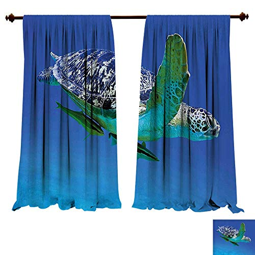 Blackout Curtain Panels Window Draperies Turtle Aquatic Theme Photo Tropical Exotic Sea Swimming Aquarium Wildlife Blue Yellow Brown Waterproof Window Curtain (W120 x L84 -Inch 2 Panels) -