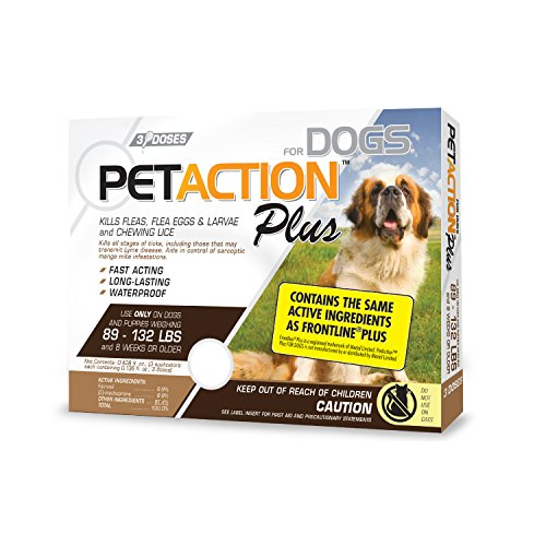 Pet Action Plus Flea & Tick Treatment for XL Dogs, 89-132 lbs, 3 Month Supply