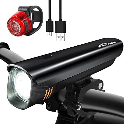 TOPTREK USB Rechargeable Bike Lights Set,Super Bright CREE LED Bicycle Front Light and Tail Light Set,Quick Release Compatible with Mountain,Road,MTB,Kids City Bike