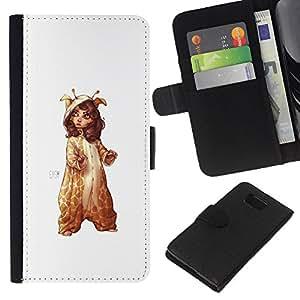KLONGSHOP // Tirón de la caja Cartera de cuero con ranuras para tarjetas - Jirafa linda - Samsung ALPHA G850 //