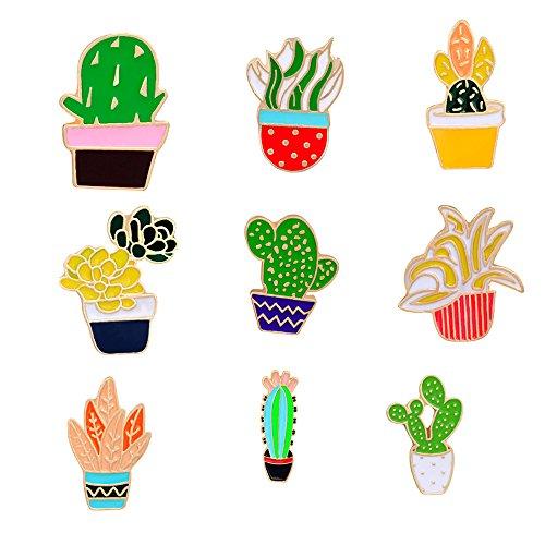 Fashion Cartoon Enamel Brooch Pins Set for Unisex Child Women's Clothing Decorate (9 pcs Cactus Set)