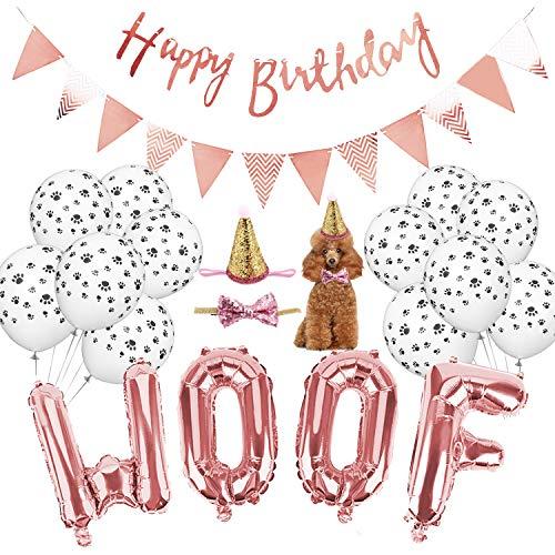 Legendog Dog Birthday Party Supplies, WOOF Letter Balloons,Paw Print Balloons Pet Birthday Hat Happy Birthday Banner for Dog Birthday Party -