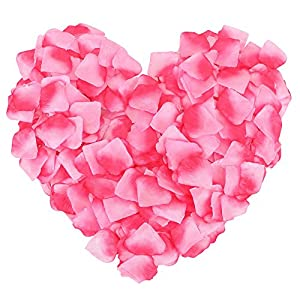 1000 Pcs Silk Artificial Rose Petals Wedding Party Decorations, Dark+Light Pink 5