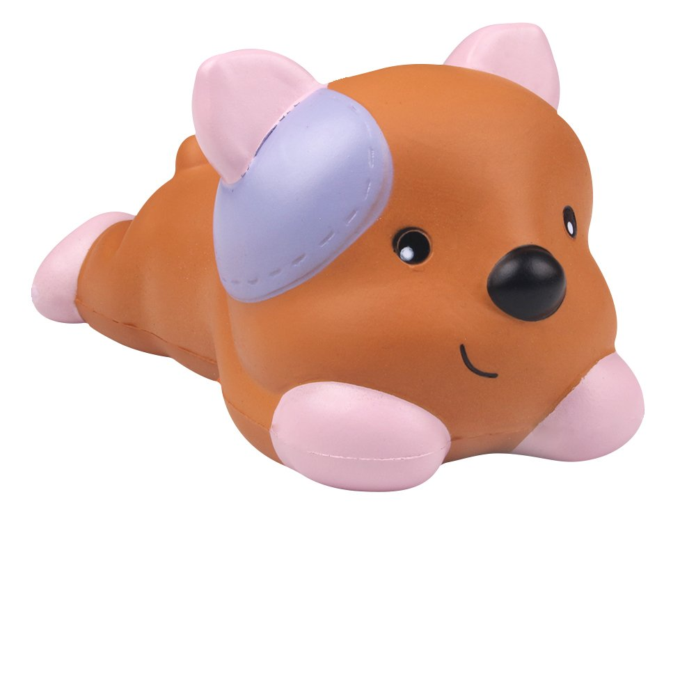 AIKEMI Soft Squishy Cartoon Dog Slow Rising Scented Squeeze Stress Relief Simulation Animal Office Products Easter Gift for Kids and Adults (marrone)
