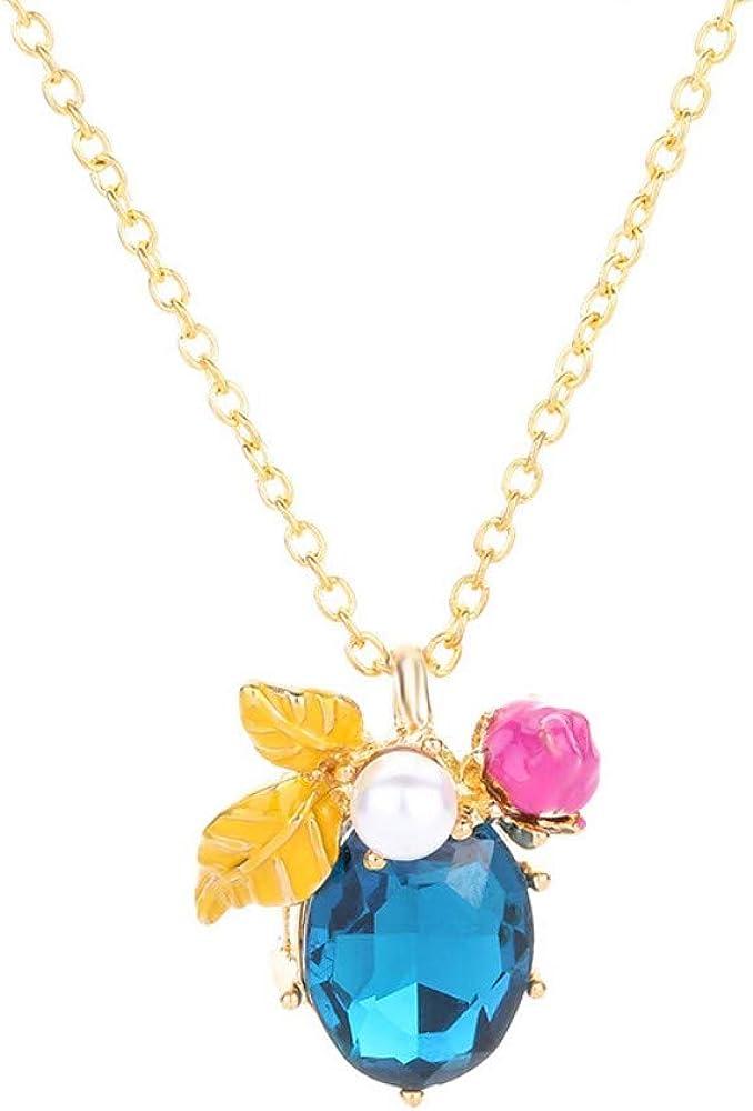 wangzz Collar De Perlas Oval Piedra Preciosa Clavícula Cadena Color Diamante Hoja Colgante Artículo Popular Joyería