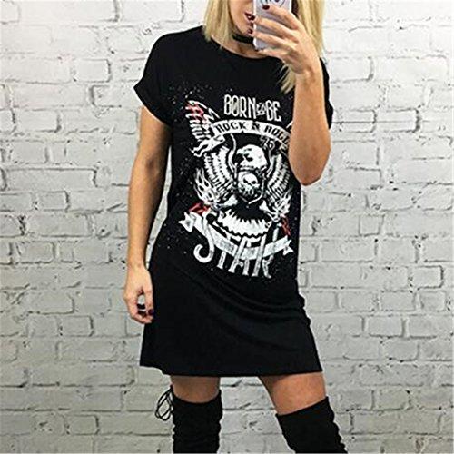 IHRKleid® Frauen Sommer Print Tops Kurzarm T-Shirts Bluse Lange Top