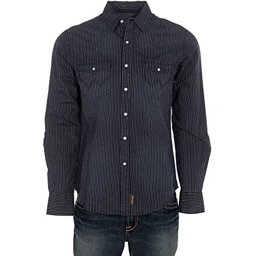 - Wrangler Apparel Mens Retro Striped Shirt XXL Indigo