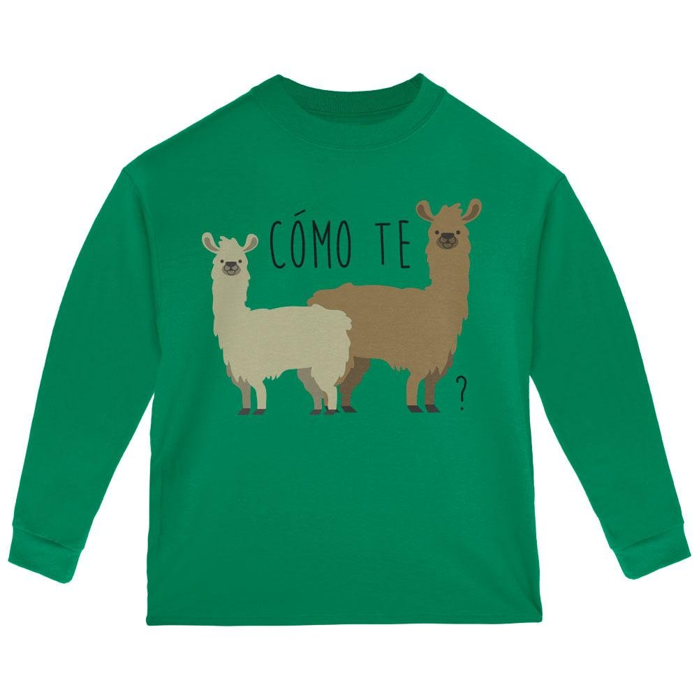 Como Te Llamas Funny Llama Pun Toddler Long Sleeve T Shirt