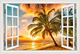 GreatHomeArt 3D Vinyl Wall Stickers Creative Window Frame Style Palm Tree Sunset Beach Wall Decals Art Removable Mural Poster for Bedroom Home Decorations-24 x36