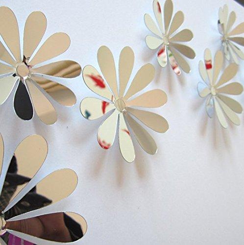 SYGA 12Pcs 3D Decorative Silver Mirror Flowers Wall Stickers