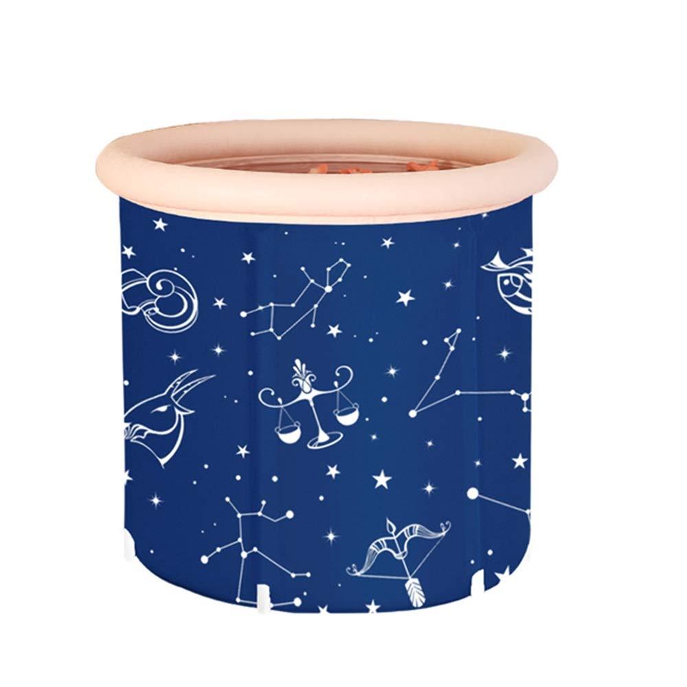 GYZ Inflatable Bathtub, PVC Portable Thickened Insulation Bathtub, Adult Folding Large Bath Barrel Plastic Household Soaking Bathtub, Blue Inflatable hot tub (Size : S)