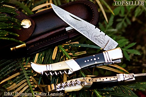 NEW-YEAR-SPECIAL-DKC-54-SQUIRE-MASTER-Damascus-Folding-Laguiole-Style-Pocket-Knife-45-Folded-85-Long-36oz-oz-High-Class-Looks-Incredible-Feels-Great-Hand-Made-DKC-Knives