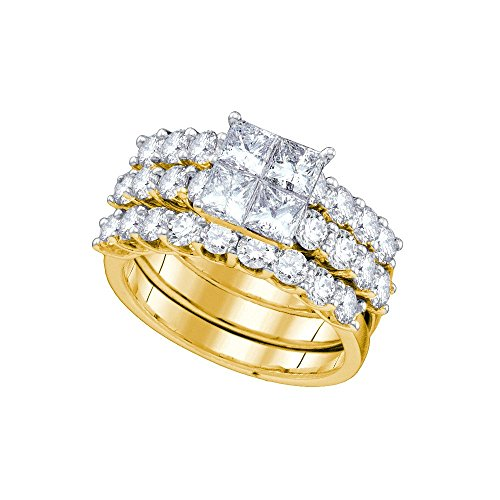 3 Ct Tw Invisible Set (Roy Rose Jewelry 3-Carat tw Princess Diamond Invisible-set Center Bridal Ring Set 14K Yellow)