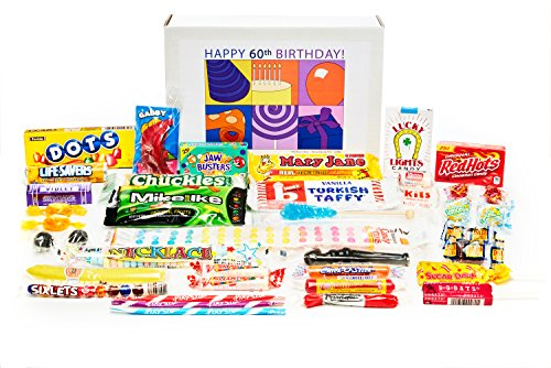 Woodstock Candy 60th Birthday Gift Box of Retro Candy for a Man or Woman Jr. (Beer Gift Basket Ideas)