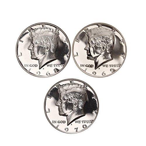 1968 - 1970 S Kennedy Proof Half Dollar 40% Silver Proof Run 3 Coins Gem Proof (Proof Half Dollar Kennedy)