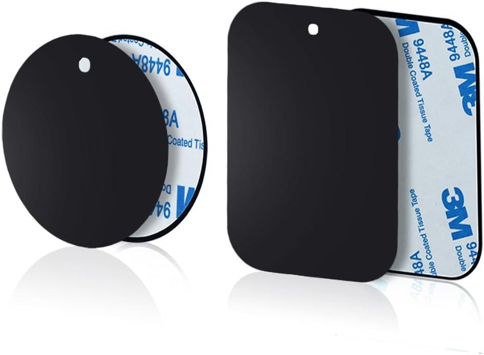 Yianerm 3M Adhesivo 4 Paquetes de Placa de Metal Delgada para Soporte magnético para teléfono de Coche (2 Redondo y 2 rectangulares)