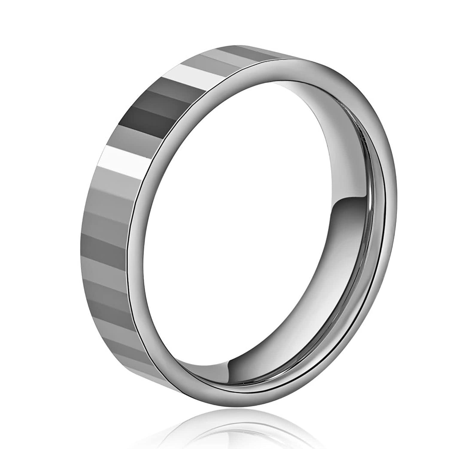 KnBoB Stainless Steel Ring for Men High Polished Comfort Fit Wedding Bands Ring Silver Size 11