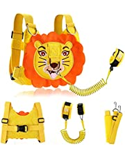 KWANITHINK Toddler Leashes for Walking Lion, 2 in 1 Kids Safety Harness + Anti Lost Wrist Link with Lock, Baby Leash HarnessforWalking Boys and Girls (Yellow)
