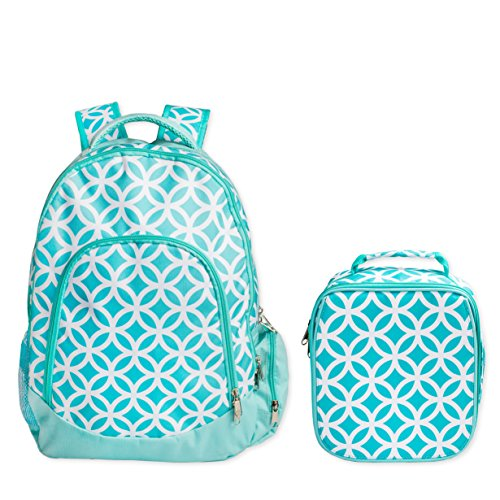 Reinforced Design Water Resistant Backpack and Lunch Bag Set (Aqua Sadie) -