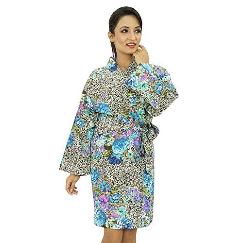 Las mujeres usan corto india impreso algodón traje del balneario dama de regalo Preparándose Robe Multicolor