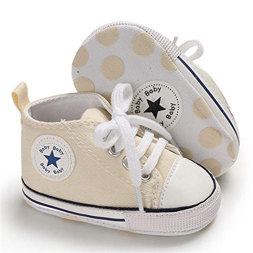 Isbasic Baby Boy Girl Canvas High Top Sneakers Infant Toddler Soft Sole First Walkers Shoes (0-6 Months Infant, Cream Yellow) (Best Baptism Gifts For Baby Boy)