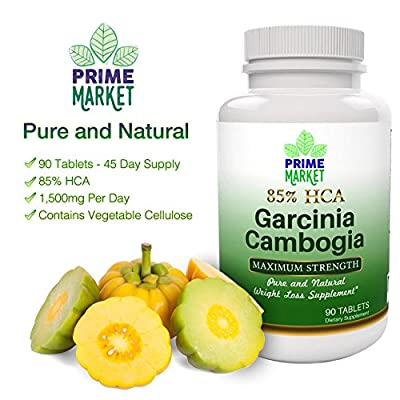 100% Pure HCA Garcinia Cambogia Extract 1500mg Maximum Potency Weight Loss Diet Pills and Effective Appetite Suppressant for Easy Fast Weight Loss Supplement for Women and Men - Backed by Prime Market