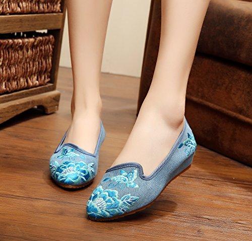 De Blue Mujeres Casual El Aumento Moda Étnico Cómodo En Bordado Tendón Suela Gamuza Jeans Zapatos Estilo Mn Zapatos wx7aXzq