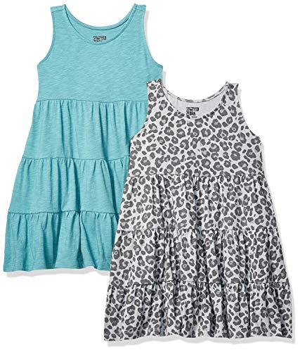 Amazon Brand - Spotted Zebra Girls' Little Kid 2-Pack Knit Sleeveless Tiered Dresses, Cheetah/Teal, X-Small (4-5)]()