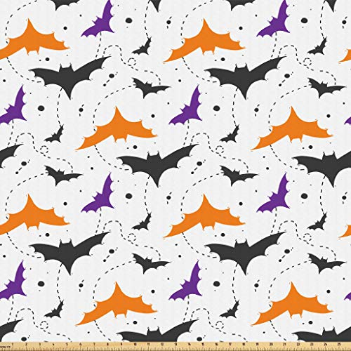 Lunarable Halloween Fabric by The Yard, Hand Drawn Bat Silhouettes with Grunge Splashes and Swirled Line, Microfiber Fabric for Arts and Crafts Textiles & Decor, 2 Yards, Orange Purple Charcoal Grey -