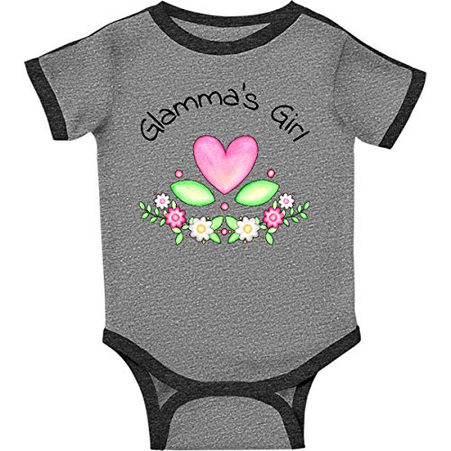inktastic Glamma's Girl- Heart Infant Creeper 12 Months Ringer Heather and Smoke
