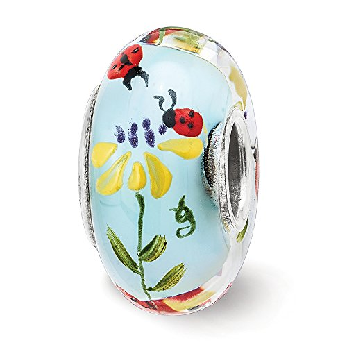 Fenton Sterling Silver Hand Painted Ladybug Love Glass Charm by Fenton Glass Beads (Image #1)