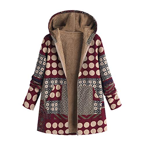 Besooly Women Coat Keep Warm Windbreaker Outwear Warm Wool Slim Long Coat Jacket Trench (L, Wine) - Wool Windbreaker
