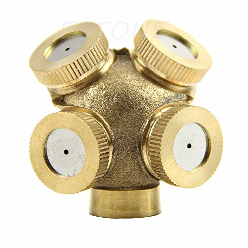 4 Hole Adjustable Brass Spray Misting Nozzle Gardening Sprinklers by Isguin