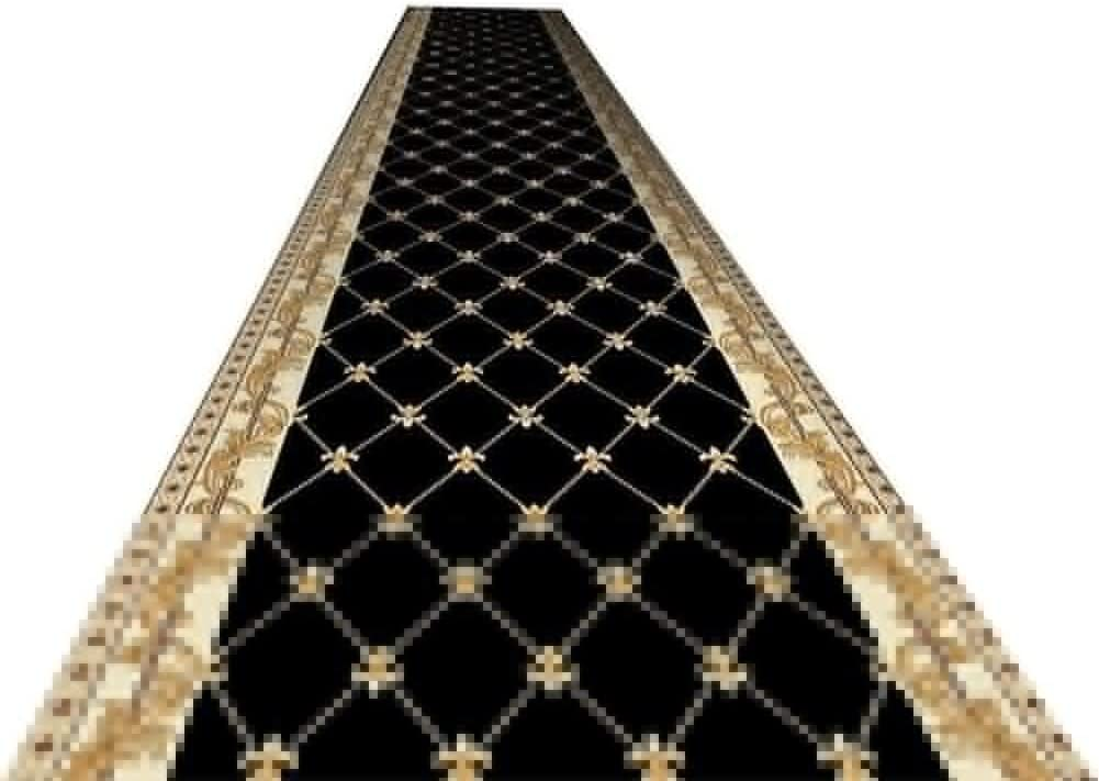 RZM Runner Rug Hallway Rug Runners with Rubber Backing - Non Skid Area Rugs Entry Carpet Runners for Kitchen and Entryway, Black Traditional Formal Style (Size : W100cm x H500cm)