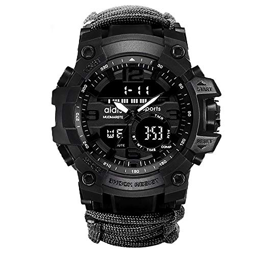 6-in-1 Top Brand Men Sports Watches Dual Display Analog Digital