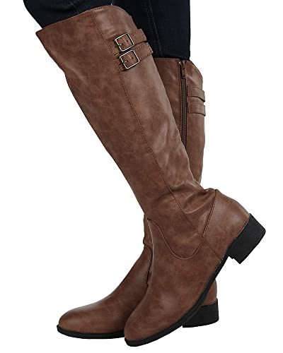 Image Unavailable. Image not available for. Color  Ermonn Womens Wide Calf  Riding Boots ... c985aa9ea5