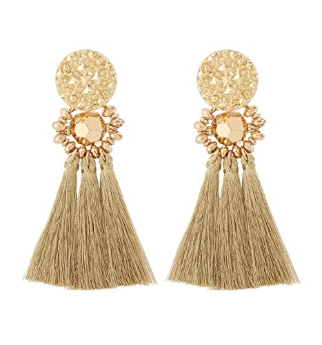 Boderier Bohemian Statement Thread Tassel Chandelier Drop Dangle Earrings with Cassandra Button Stud (Gold)