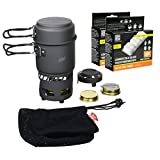 Esbit CS985HA 5-Piece Lightweight Trekking Cook Set with Brass Alcohol Burner Stove, Includes 24 Solid Smokeless 14g Fuel Tablets