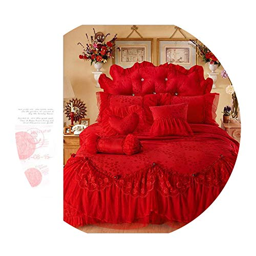 (Luxury Jacquard Silk Princess Bedding Sets Queen King 4/6/8pcs Beige Lace Ruffles Duvet Cover Bedspread Bed Skirt Bedclothes,RED,King Size 6pcs)
