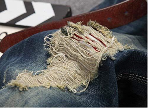 Distrutti Blau Strappati Jeans Classiche Pantaloni Moda Ragazzi Sfilacciati Uomo 6vzcqwI