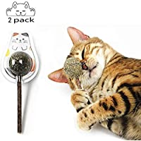 2PCS Cat Ball Stick Catnip Toys,Pet Cat Teeth Clean Mint Catnip Lollipop Chewing Candy Ball Toy Tease Organic Silvervine…